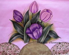 Pano de Prato patch aplique tulipas