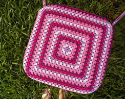 Capa para banco quadrado em crochet