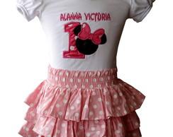 Conjunto Minnie Rosa Babados 1014