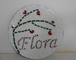 Placa com nome em mosaico