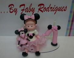 Topo De Bolo Menina Minnie Rosa