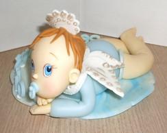 topo de bolo beb� anjo da guarda