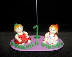 topo de bolo bonecas gemeas