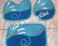 Tapetes Jogo De Banheiro  azul