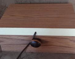 Caixa de ch� c/fecho de semente e couro