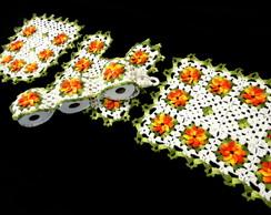 Jogo de Banheiro Flores Gerbera(Ref.A32)