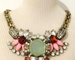 10258 - Colar pedraria verde e rosa