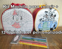 Mochila P Minnie + KIT para colorir