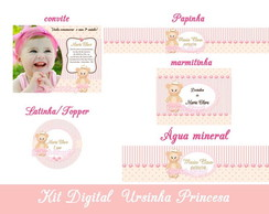 Kit Digital Ursa Princesa Rosa e Dourado