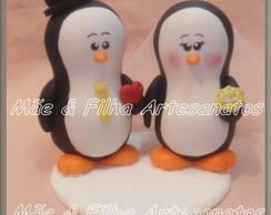 Noivinhos Casal Pinguins Cora��o