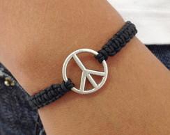 Frete Gratis - Pulseira Paz cor preta
