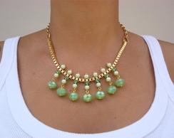 C691 - Colar cristais e p�rolas verde