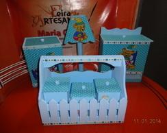 O kit higiene menino forrado com tecido