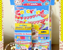 Kit Colorir + Massinha Modelar Galinha