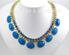 Maxi Colar Dourado com Pedras Azul Klein