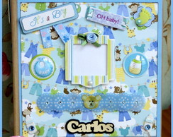 Mini �lbum Chipboard Beb� Menino