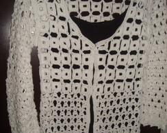Blusa de croch� com quadradinhos