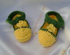 Sapatinho verde e amarelo para Meninas