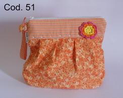N�cessaire,bolsa floral laranja cd 51