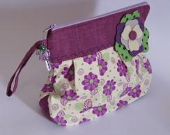 N�cessaire,bolsa floral roxo Cd 53