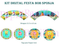 Kit Digital Topper e Wrapper Bob Sponja