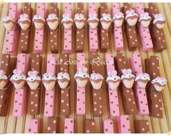 Pregador Cupcake marrom e rosa