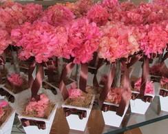 Topiara Hort�ncia rosa & fita marrom
