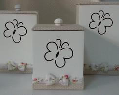 Kit Higiene Borboletas Floral com Bege