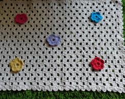 Tapete De Croch� Retangular com Flores
