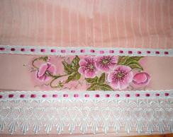 Toalha De Rosto Salm�o com Flores