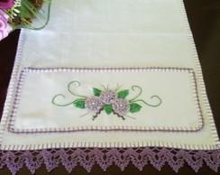 pano de copa com flores de sianinha