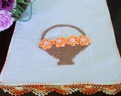 pano de copa com cesta em croch� flores