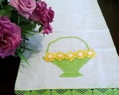 pano de copa cesta flores de fia