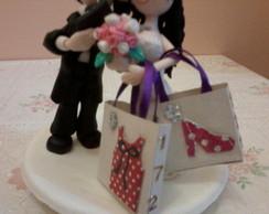 casal de noivos para topo de bolo