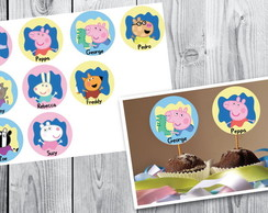Kit Toppers Tags R�tulos Peppa e George