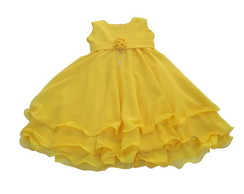 Vestido Infantil Crepe Amarelo: 3A74FF