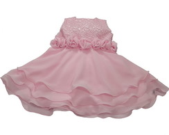 Vestido Infantil Crochet Rosa: 3A7576