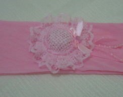 Faixa para cabelo rosa chap�u