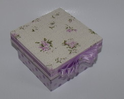 Mini Caixa de tecido floral lil�s