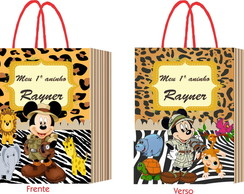 10 Sacolas Safari do Mickey BrilhoM