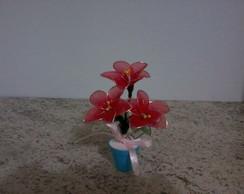 Vaso c/ 3 Flores em Meia de Seda