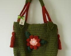Bolsa em crochet, com pingente