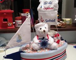Barco de fraldas do ursinho marinheiro