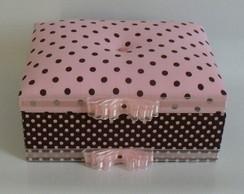 Porta-biju marrom e rosa