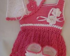 vestido+touca+botinha em croch�