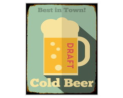 Placa MDF Retr�- Cold Beer Draft - 713