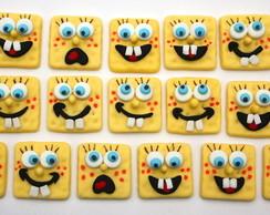 Aplique bob esponja em biscuit.