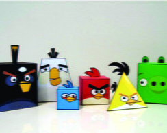 Kit Paper Toy 3D Angry Birds c/ 6 pers.
