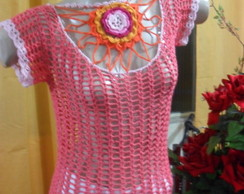 Blusa Ana Maria Braga com flor no decote