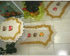 jogo banheiro bicolor flor catavento